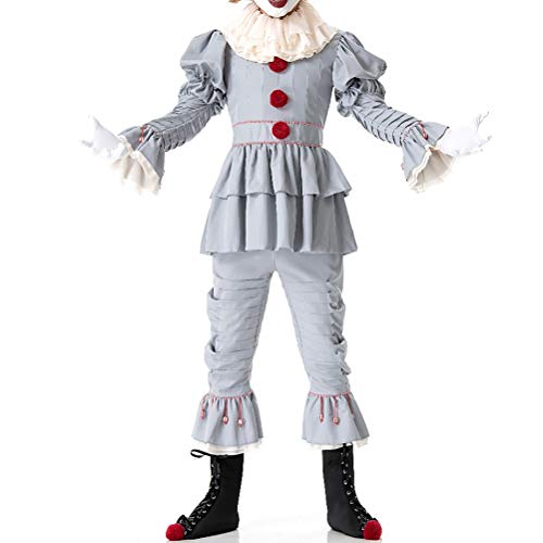 Pardobed The Clown Costume Adult Halloween Cosplay Costume Grey