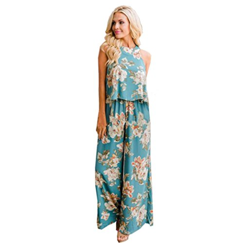 Hot Sale! Women Summer Casual Jumpsuits Set Floral 2 Piece Outfits Cami Tank Tops High Waist Wide Leg Pants (Green, S)