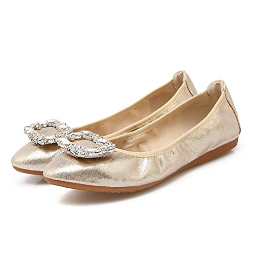 Meeshine Vrouwen Ballerina Ballet Flats Strass Opvouwbare Slip Op Platte Schoenen Goud 01