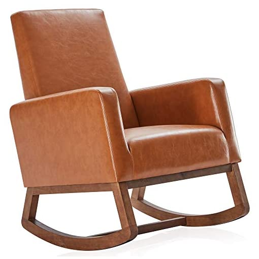 Living Room BELLEZE Modern Rocking Chair Upholstered Faux Leather High Back Armchair Padded Seat for Living Room, Caramel modern accent chairs