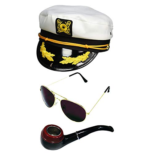Yacht Captain Hat Pipe and Aviator Sunglasses, Multi, One Size]()