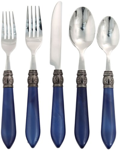 Hampton Forge Argent Sophia 20-Piece Flatware Set, Cobalt, -