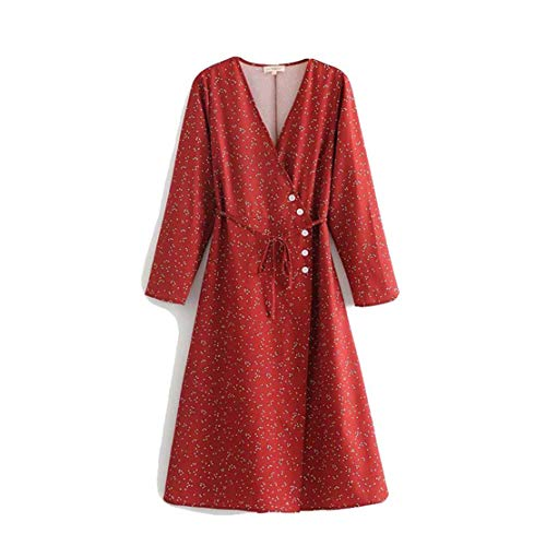 (Nat Terry Women Casual Mini Short Autumn Slim v-Neck Long Sleeve Dress)