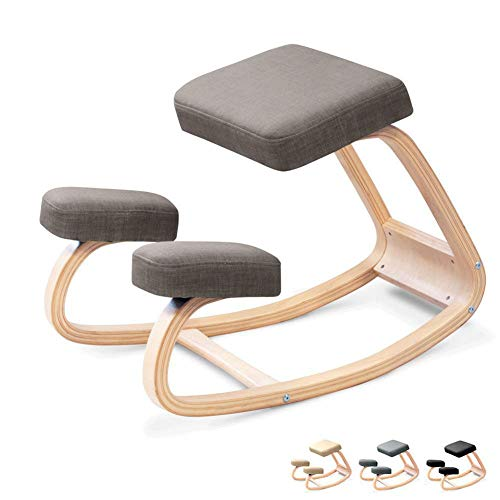DOOKK Varier Variable Balans,Natural Lacquered Wood Ergonomic Kneeling Chair Stool for Home Office and Desk Chair 72X52x51cm,Gray