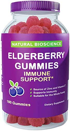 Sambucus Elderberry Gummies Family Size, 180 Gummies, for Children & Adults, with Vitamin C, Zinc & Black Elderberry Extract, Natural Herbal Supplement with Plant Pectin, Immune Support, Great Taste
