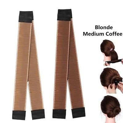 2pcs Accesory of Medium Coffee + Blonde Synthetic Modern Wig Bun Style Shapers Maker for Hair by ENERGI8_ZQ