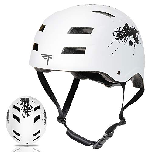 Flybar Dual Certified CPSC Multi Sport Kids & Adult Bike and Skateboard Adjustable Dial Helmet – Multiple Colors & Sizes (Splatter, M/L)