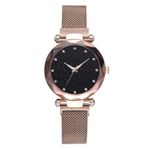 Watch Women Magnet Stone Watch Leisure Net Chain Watch Magnet Stone Bell Glass Mirror Ladies Watch Geometric Surface Starry Sky Watches (Gold)