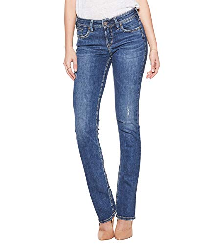 Silver Jeans Co. Women's Elyse Relaxed Fit Mid-Rise Slim Bootcut Jean, Medium Dark Indigo, 30x31