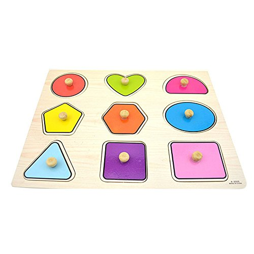 UPC 611387006907, Remeehi Wooden Peg Puzzles Shapes Jigsaw Puzzles Educational Toys for Toddlers