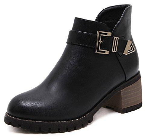 Martin Noir Femme Simple Low Rond Bottines Aisun Boots Bout YxgSZq