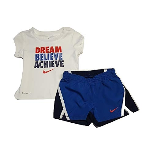 Nike Toddler Girls Dri-Fit Shirt and Shorts Set Dream Believe Achieve (12 Months) Game Royal (Nike Dri Fit Game)