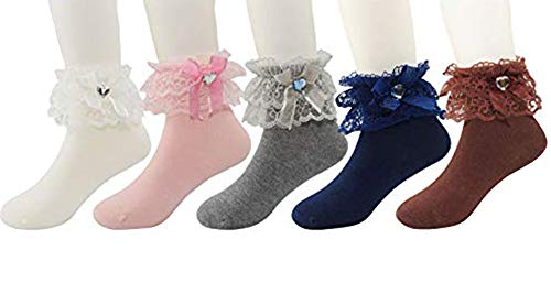 Honanda Girl's Cute Lace Ruffle Frilly Princess Style Bowknot Cotton Ankle Socks Dress Socks (Pattern 5)