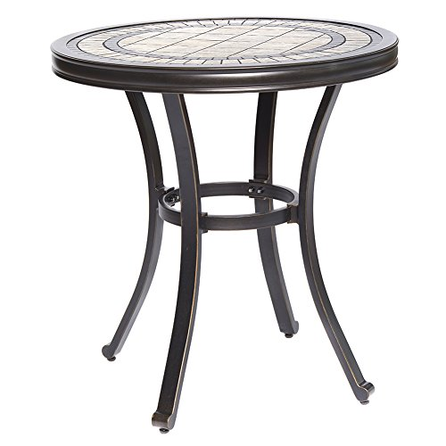 dali Handmade Dining Table Contemporary Round a Tile-Top Design with Heavy-Duty Aluminum Frame 28″ Dia x 28.6″ Height