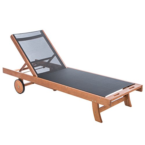 Ultranatura Wooden Sun Lounger with Fabric, Canberra Series - Classy & High-quality Eucalyptus Wood FSC-certified – 75 x 25 x 36 in (190 x 63.5 x 91 cm)
