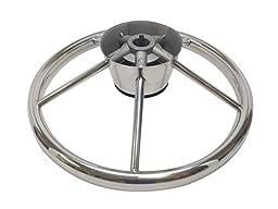 Pactrade Marine 5 Spoke Stainless Steel Steering Wheel with Turning Knob, 11\