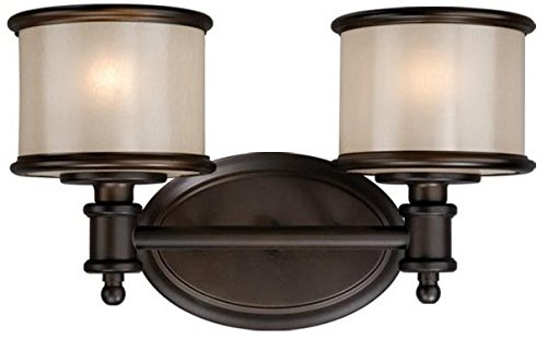 Vaxcel CRVLU002NB Carlisle 2 Glass Bathroom Vanity Lighting Fixture, Bronze