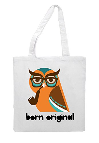 Character Hipster Owl Tote Animal Style Original Vintage Shopper Quote Bag White Born aIw8xZrIq5