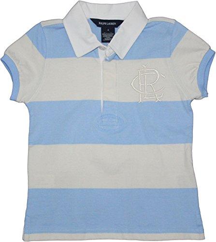 Ralph Lauren 'RLC' Toddler Girl's Striped Logo Rugby (6X, Blue/Cream)