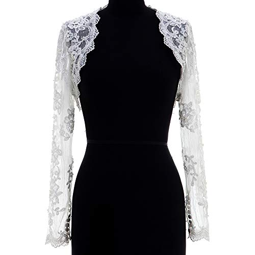 - Lace Wedding Jacket Beaded Bridal Bolero Shrug With Long Sleeves Ivory 10