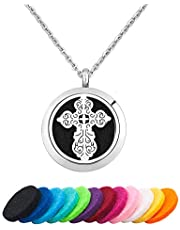 CLY Jewelry Love Jesus Cross Celtic Knot Aromatherapy Essential Oil Diffuser Necklace Pendant 12 Pads
