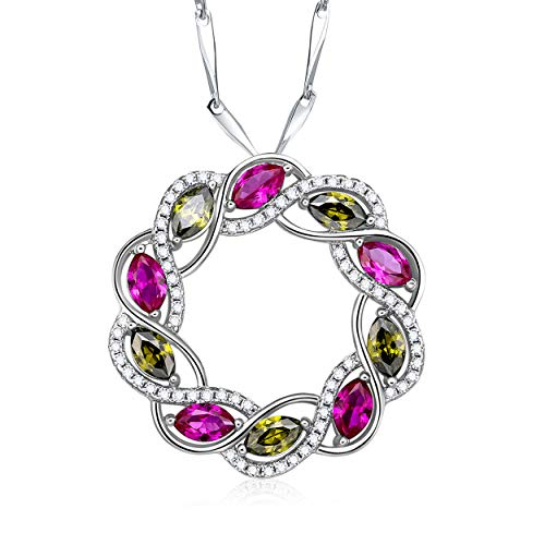 Yeinos Womens 925 Sterling Silver Created Ruby & Peridot Circle Pendant Necklace