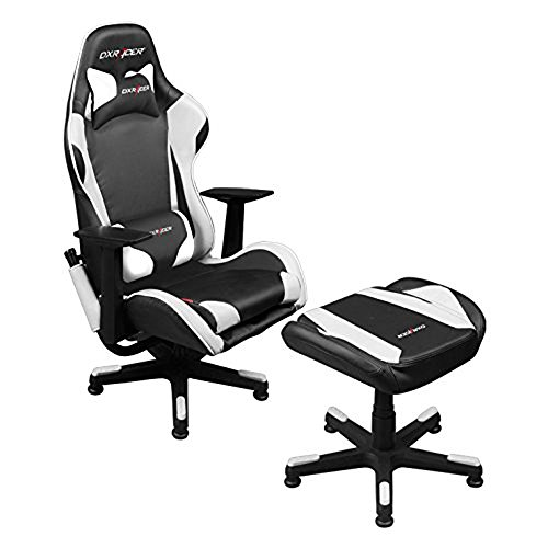 Dxracer Video Game Chair + Ottoman FA96/NW/SUIT Newedge Edition Console Gaming Chair Tv Lounge Chair Esports Ergonomic Design Playroom Furniture (Black/White)