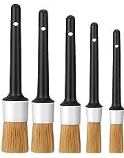 Car Interior Detailing Brushes Kit, 5 Pcs Multi-Purpose Boars Hair Detail Brush Set use for Clean Car Detail, Seat, Wheel, Interior, Exterior, Leather, Air Vent,Gap, Cup Holder, Baffle