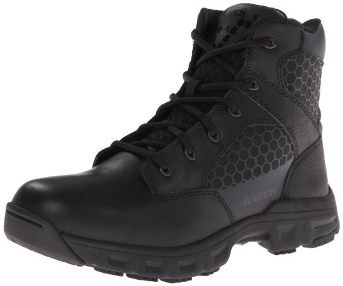 Bates Mens Code 6 Black 6 Inch Leather Nylon Zip Uniform Boot  Black  7 M Us