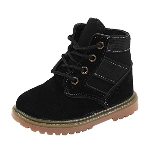 Casual Child Boots (Kimloog Toddler Boys Girls Lace Up Martin Snow Boots Winter Outdoor Hiking Shoes (Black, 8 M US Toddler))
