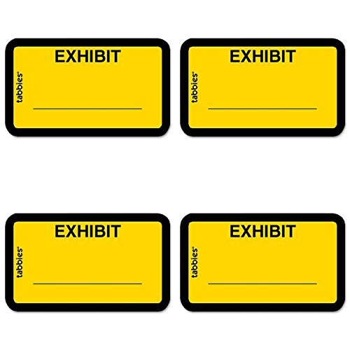 Tabbies Color-coded Legal Exhibit Labels, 1 5/8'' x 1'', Yellow, 4 Packs by Tabbies