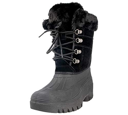 GroundWork Mukker Womens Boots Winter Up Yard Snow Stable Lace LS005 Black BrBnHwqS