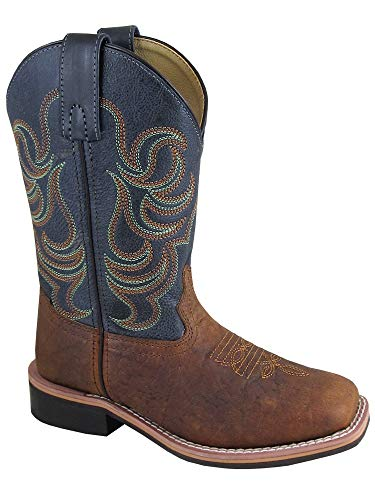 Smoky Children's Jesse Embroidered Leather Western Cowboy Boots - Brown -