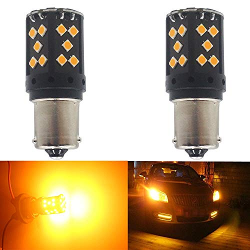 May Need Load Resistors to Fix LED Bulb Fast Hyper Flash AMAZENAR 2-Pack 3156 3056 T25 Extremely Bright Amber//Yellow Non-Polarity 3030 60SMD LED Turn Signal Light Blink Bulb