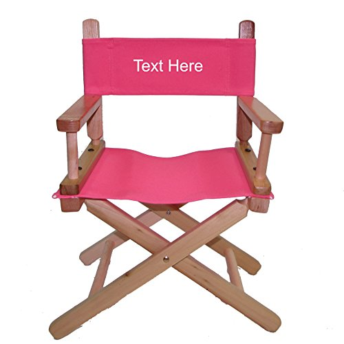 (PERSONALIZED EMBROIDERED Natural Frame Toddler's Directors Chair by Gold Medal - Pink)
