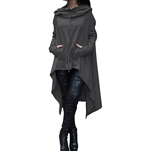 Aniywn Womens Long Sleeve Plus Size Hooded Pullover Top Lightweight Cloak High Low Hem Long Blouse T-Shirt Dark Gray