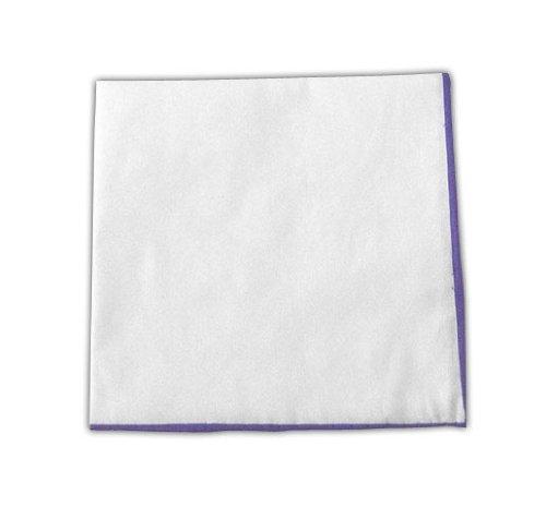 The Tie Bar White Cotton Pocket Square with Lavender Border