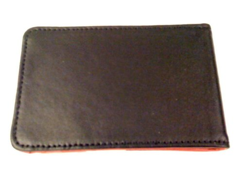 Black/Red Money Clip Bi-fold Leather Wallet By DesignSK