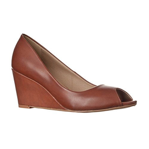 - Riverberry Women's Addie Mid-Height Peep Toe Wedge Pumps, Brown PU, 10