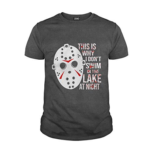 Zoko Apparel Men's This is Why I Dont Swim in The Lake at Night Jason Voorhees T-Shirt (M, Dark Heather) ()