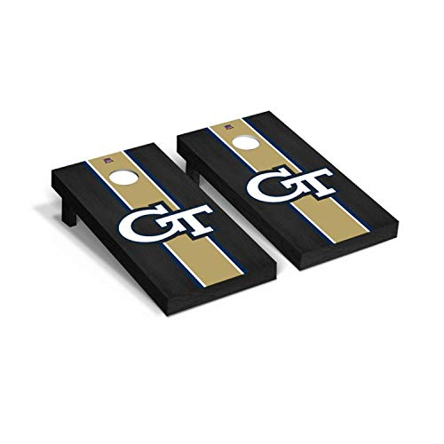 Victory Tailgate Regulation Collegiate NCAA Onyx Stained Stripe Series Cornhole Board Set - 2 Boards, 8 Bags - Georgia Tech GT Yellow Jackets