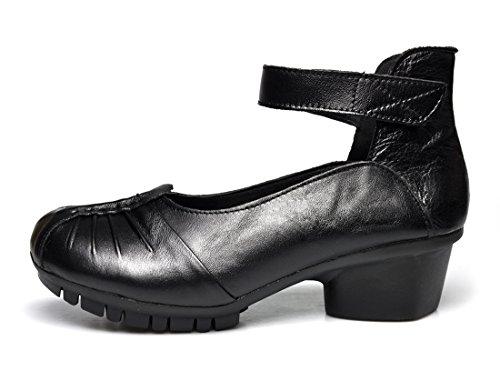 Dress Toe Women's Strap Black Pumps Round Leather Mid Shoes Ankle CUNZHAI Heel q8W7taStg