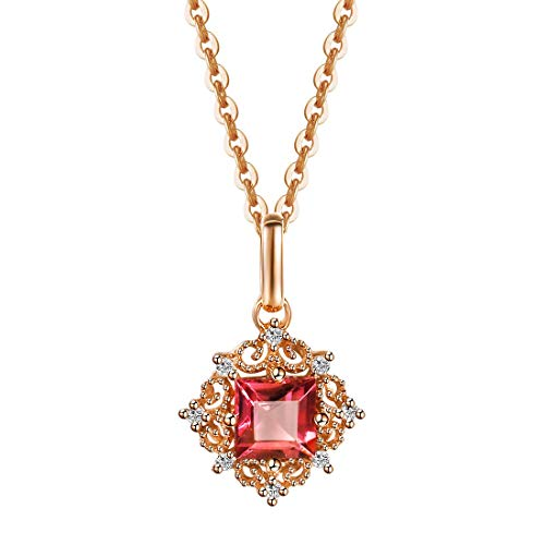 Carleen 18K Solid Rose Gold Princess Cut 0.315ct Genuine Tourmaline Pendant Necklace for Women Girls with 0.019cttw Diamond, 18