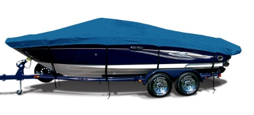 Tunnel Boats Hull (Caribbean Blue Exact Fit Boat Cover Fitting 2005-2008 Vip Bay Stealth 2194 Skf Tunnel Hull O/B Models, Sharkskin SD Supreme)