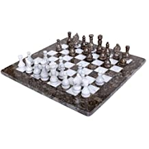 RADICALn 16 Inches Handmade Grey Oceanic and White Marble Full Chess Game Original Marble Chess Set