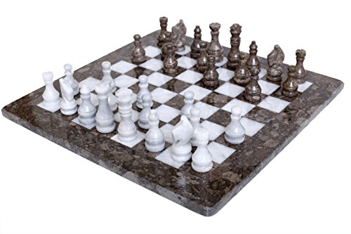 RADICALn 16 Inches Weighted Handmade Marble Grey Oceanic and White Staunton Tournament Chess Set - Non Othello Non Go Non Magnetic - Classic Ambassador Style Adults Chess Board Game Sets ()
