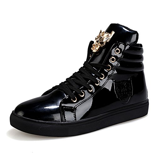Leather Patent Sneakers (PP FASHION Men's Teenagers Fashion Sneakers Basketball Patent Gym Training Running Stylish Casual Shoes US9.5/CN43 Black)