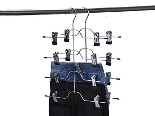 2 Quality Pant Skirt Trouser 4-Tier Pants Metal Hangers Heavy Duty Metal and Clips (2)
