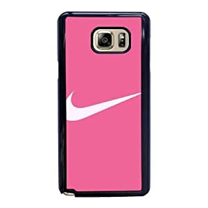 Wunatin Hard Case ,Samsung Galaxy Note 5 Cell Phone Case Black nike pink logo [with Free Tempered Glass Screen Protector] BA-9892520