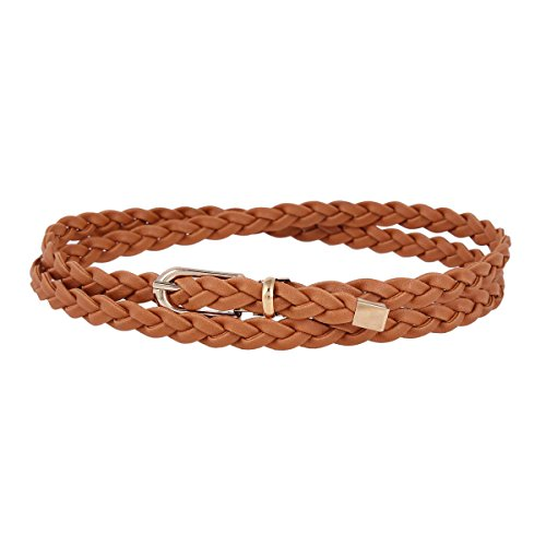 Damara Women Thin Braided Single Prong Buckle Waist Belt,Brown - Braided Waist Belt